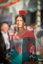 Seville spain april women in flamenco style dress at the s fair on Royalty Free Stock Image