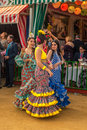 Seville spain april women performing sevillana dance at the s fair on in Royalty Free Stock Images