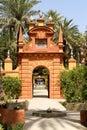 Seville spain august reales alcazares royal alcazars seville detail gardens palms fountains arch built as moorish fort ancient Stock Image