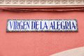 Seville street spain decorative name sign virgen de la alegria Stock Image