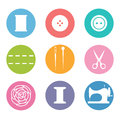 Sew icon set in flat style Royalty Free Stock Photo