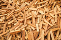 Sew wood scraps ready for recycle procress Royalty Free Stock Photo
