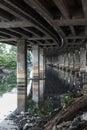 Sewage canal under expressway bangkok thailand Stock Photo