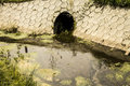 Sewage pipe polluting the source Royalty Free Stock Image