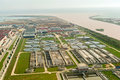 Sewage plant aerial view of an industrial Stock Images