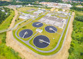 Sewage treatment plant aerial view of public for inhabitants of pilsen city in czech republic europe Royalty Free Stock Photography