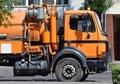 Sewage truck on the street Stock Photos