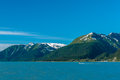 Seward bay mountains on clear sky in alaska usa Stock Photo