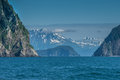 Seward bay rocky islands and mountain in alaska usa Stock Image
