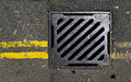 Sewer cover with double yellow lines Royalty Free Stock Photo