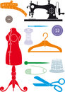 Sewing accessories big set of simple shapes to cut or icons Stock Image