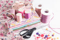 Sewing accessories and fabric colored thread other tools Stock Image