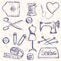 Sewing accessories illustration of vintage doodle style Stock Photos