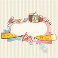 Sewing accessories pretty delicate pastel design of above a blank decorative cartouche or label on a patterned background Stock Photography