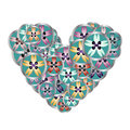 Sewing buttons heart floral pattern for sewing business