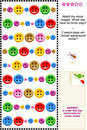 Sewing buttons visual logic puzzle Royalty Free Stock Images