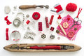 Sewing collection a needle work accessories in red on white background Stock Images