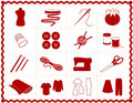 Sewing & Craft Icons, Red Silhouette Royalty Free Stock Photography