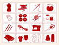 Sewing & Craft Icons, Stitchery Frame Stock Photos