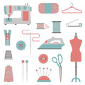 Sewing design elements set of colorful Stock Images
