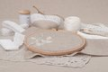Sewing and embroidery craft kit natural linen background Royalty Free Stock Photos