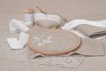 Sewing and embroidery craft kit natural linen background Stock Photo