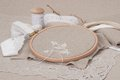 Sewing and embroidery craft kit natural linen background Stock Images