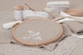 Sewing and embroidery craft kit natural linen background Royalty Free Stock Photo