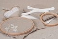 Sewing and embroidery craft kit natural linen background Stock Image