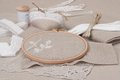 Sewing and embroidery craft kit natural linen background Stock Photography
