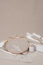 Sewing and embroidery craft kit natural linen background Stock Photos