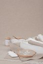 Sewing and embroidery craft kit natural linen background Royalty Free Stock Photography