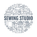 Sewing equipment, hand made studio supplies banner illustration. Vector line icon needlework accessories - sewing
