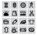 Sewing equipment icon vector black set on gray Stock Images