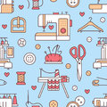 Sewing equipment, tailor supplies blue colored seamless pattern with flat line icons set. Needlework accessories - Royalty Free Stock Photo