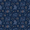 Sewing equipment, tailor supplies blue colored seamless pattern with flat line icons set. Needlework accessories -