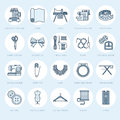 Sewing equipment, tailor supplies flat line icons set. Needlework accessories - sewing embroidery machine, pin, needle Royalty Free Stock Photo