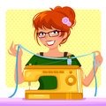 Sewing girl with her machine Stock Photography