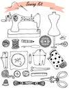 Sewing hand drawn vector kit Royalty Free Stock Photo