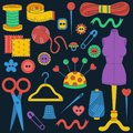 Sewing hand made icons doodle colorful vector set