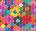 Sewing hexagon flower full seamless pattern