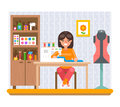 Sewing Hobby Work at Home Craft Flat Design Vector Illustration