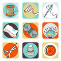 Sewing icons Royalty Free Stock Photo