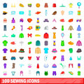 100 sewing icons set, cartoon style