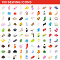 100 sewing icons set, isometric 3d style