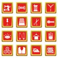 Sewing icons set red