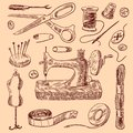 Sewing Icons Sketch Set Royalty Free Stock Photo