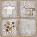 Sewing items on rustic linen background scissors machine buttons shirt Royalty Free Stock Photos
