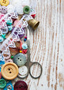 Sewing items stuff on a old wood background Royalty Free Stock Photos