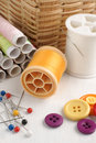 Sewing items thread pins and buttons Stock Image